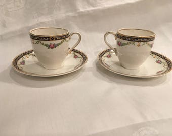J&G Meakin China Espresso Set of 2 Cups and Saucers