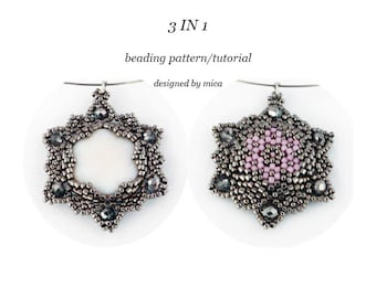 Shell-Star-Flower 3 in 1 Pendant - Beading Pattern/Tutorial - PDF file for personal use only