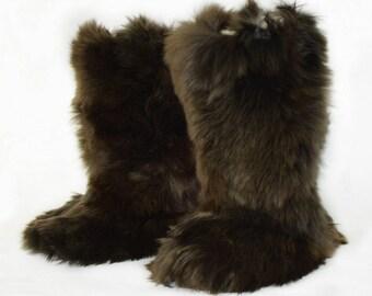 Unisex Dark Brown Baby Alpaca Slipper Boots. Handmade on baby alpaca fur.  Size: 5 - 15