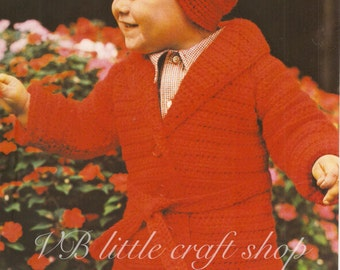 Child's coat and hat crochet pattern. Instant PDF download!