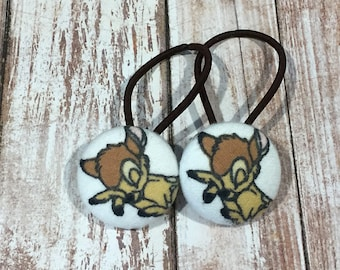 "1 1/8"" Size 45 Tan/Camel/White Sleeping Deer Fabric Covered Button Hair Tie / Ponytail Holder / Party Favor (Set of 2)"