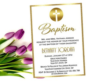 Gold Baptism Invitations & Christening Invitation, Printable Custom Elegant First Communion Announcements Cards, Your Words and Event