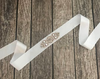 White sash, Flower girl sash, childrens sash, wedding sash, rhinestone sash, dress sash