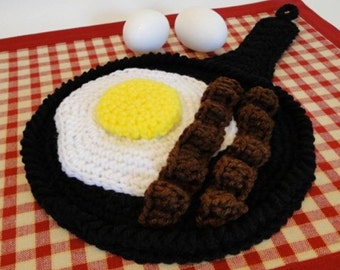 Crochet Pattern - Bacon and Egg Skillet Potholder Crochet Pattern #301 - Instant Download PDF