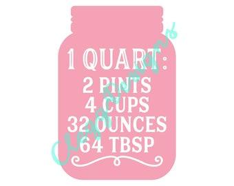 Kitchen SVG, Quart Measurement Conversion Svg Sign PDF, Farmhouse Instant Download, JPEG, Silhouette V3, Printable Quote, Clipart Scrapbook