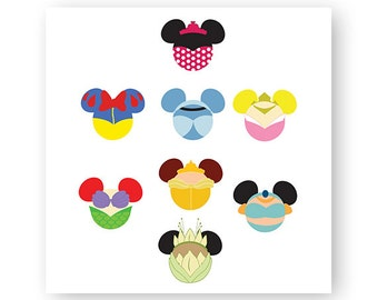 Disney, Princess, Icon Minnie Mouse Head, Icon Mickey Mouse Head, Mouse Ears, Digital, Download, TShirt, Cut File, SVG, Iron on, Transfer