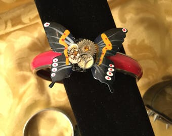 Steampunk Geared up Butterfly Bangle