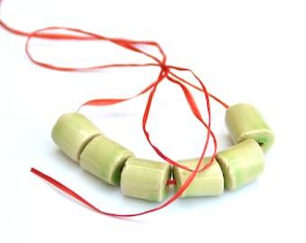 Handmade Ceramic Beads Tube in a Soft Green