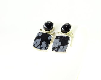 Sterling Inlaid Pierced Earrings