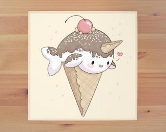 Animal Ice Cream Narwhal Print