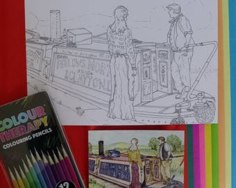 Narrowboat Themed Large Colouring Card Gift Set. 'Chatting with The President' Ideal therapy cards. Art to Colour. Boat Rivers Canal Theme