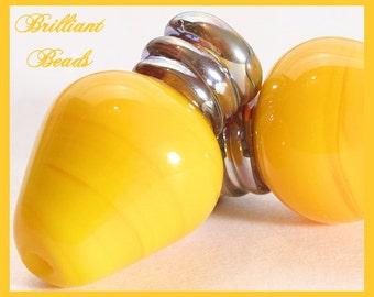 Sunshine Yellow & Metallic Silver Christmas Bulb Lampwork Bead Pair - Handmade Lampwork SRA, Made To Order