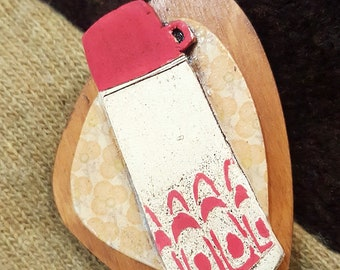 Wooden and ceramic, retro inspired flask pin brooch