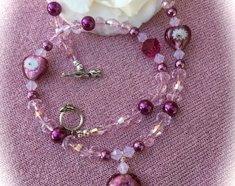 ENCHANTING LOVE NECKLACE - Swarovski Crystals - Pink Millefiori Foil Hearts - Romance -Love - Kiss - Tulip Clasp - One of a Kind
