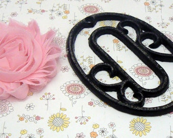 """House Mailbox """" Number 0 Zero """" 4.5 Inches Cast Iron Black Shabby Elegance Distressed Victorian Swirl Table Address Accent Number #0"""