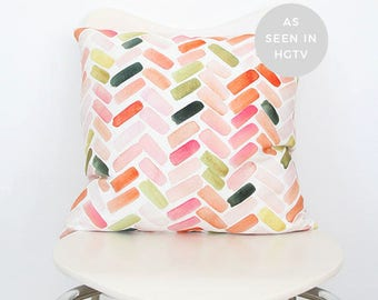Pink & Orange Herringbone- Watercolor Throw Pillow