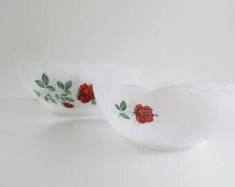 Set of 2 Romantic Arcopal Milk Glass Bowls