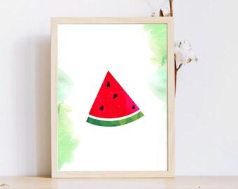 Watermelon art/ 8 x 10 watermelon print/ Instant download/watermelon slice/green watercolor background/Kid's room décor/digital nursery art