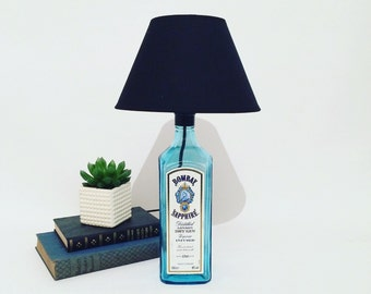 Bombay Sapphire Gin Bottle Lamp - Perfect for the man cave or home bar - Upcycled lighting - Perfect gift idea - Unique decor