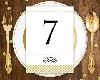 "Gold Printable Table Numbers Cards 5"" x 7"" Wedding INSTANT DOWNLOAD DIY for Print at Home Golden stripes Table Sign Card Numbers from 1 - 20"