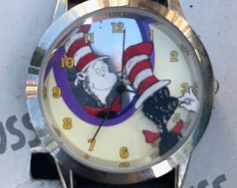 Dr. Seuss Cat in the Hat Authent Watch Tick Tocking Time Tickers 1997.