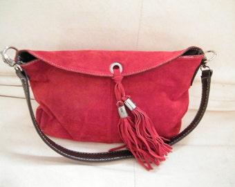 Vintage  Red suede  bag natural deerskin handbag Genuine red leather bag original deerskin bag Boho Hippie Bohemia