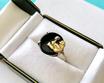 10kt Yellow Gold and Onyx Diamond Teddy Bear Ring Size 5.75