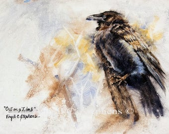 Raven art, Out On A Limb, print of a Pine Raven sitting on a branch, black bird, crows, birds, North Amer. Wildlife, Pine Raven art