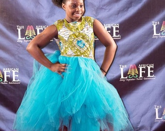 Ankara Dress, African Print Dress, Backless African Print Dress, Ankara Tutu Dress, Liputa Tutu Dress, Kitenge Tutu Dress