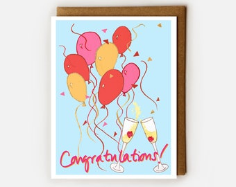 Congratulations Card, Blank Card, Congrats Card, Wedding Card,Fun Congratulations, Balloons, Champagne, Engagement Card, Graduation,New Home