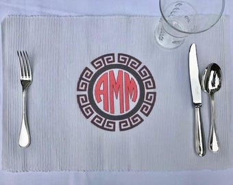 circle monogram with Greek key border 100% cotton placemat with custom thread colors