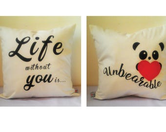 """Valentine Cushion,Both side with Message,Handmade Valentine Cushion, Valentine Message Cushion, 16"""" x 16"""" cushion, Valentine Gift by MasfeMY"""