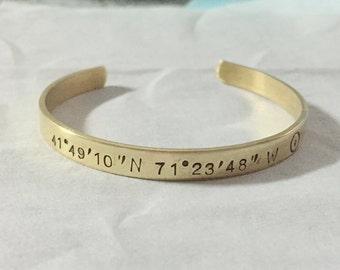 Coordinate cuffs, Womens Coordinate cuffs, coordinate bracelet, coordinate jewelry, custom coordinate, personalized bracelet for women gift