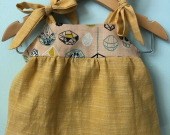 Organic Summer Baby Top // EcoFriendly Baby Top // Chambray Baby Top // Handmade Baby Outfit
