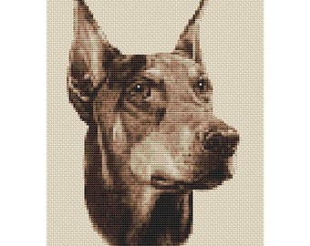 Doberman Dog in Sepia Cross Stitch Design by Elite Designs