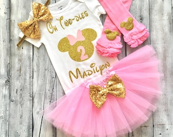 pink and gold Minnie Mouse second birthday outfit, 2nd birthday Minnie Mouse outfit, pink gold, oh twodles, Minnie birthday, shirt, second