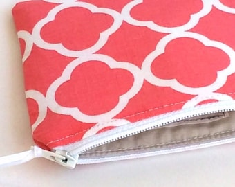 Zipper Pouch, choose your size, Coin purse, Pencil case, Mother's day gift, Girlfriend gift, Graduation gift, under 15, Coral and white