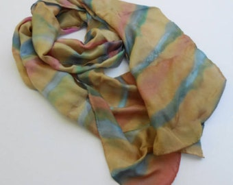 Tan Scarf with Pink & Blue Random Stripes