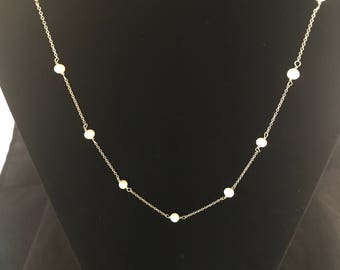 Vintage Sterling Silver Pearl Necklace