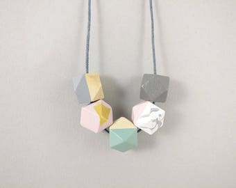 Geometric Necklace | Statement Necklace | Gift for her | Geometric Jewellery | Beaded necklace | Minimalist necklace | Geo | Marble necklace