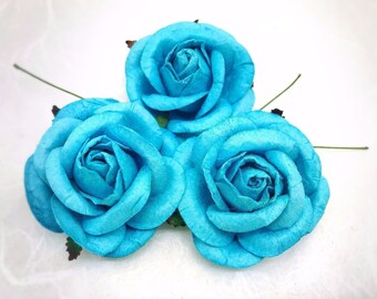 5 pcs. 50mm/2 inches royal blue mulberry paper roses - paper flowers #266