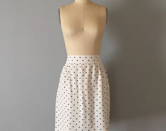 black polka dot mini skirt | 1990s white mini skirt