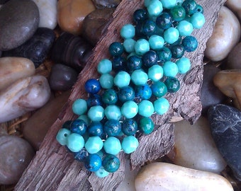 Beaded Stretch Bracelet in Sapphire & Turquoise