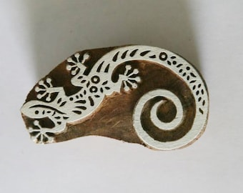 Lizard Stamp - Indian Hand Carved Wood Block