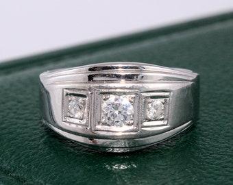 Men's Diamond Ring. Men's Wedding Ring. 14k Gold Wedding Band, Anniversary Ring. Three Stone Diamond Ring.