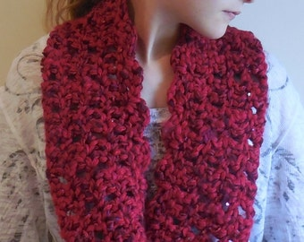 Chunky Red Scarf, Chunky Red Cowl, Red Crochet Scarf, Red Crochet Cowl, Red Christmas Scarf, Red Christmas Cowl, Winter Cowl,OOAK red scarf