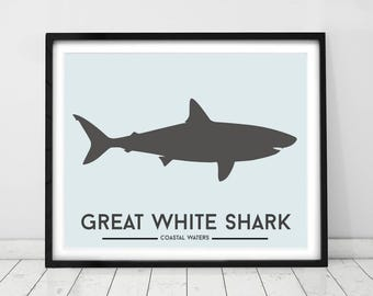 Shark wall art, Ocean decor, Prints for kids, Great white shark print, Marine animal prints, Toddlers room decor, Kids art, Beach decor