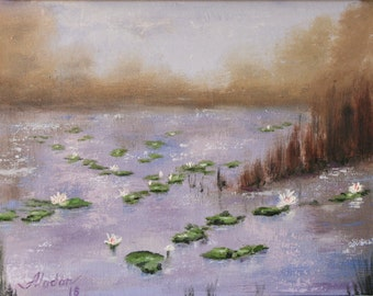 original oil painting of lily pads on a pond, purple home decor palette knife thick impasto FREE SHIPPING