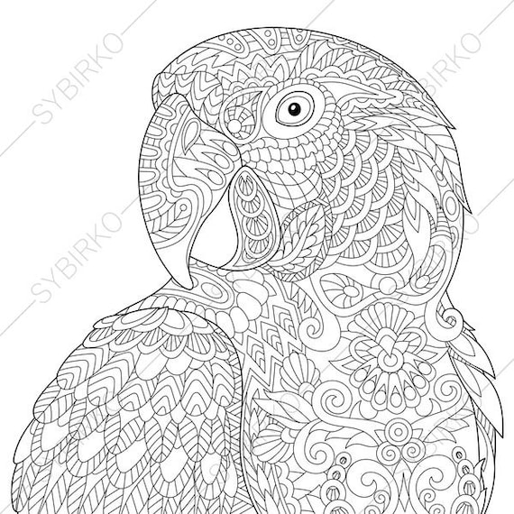 Coloring Pages for adults. Macaw Parrot. Tropical colouring