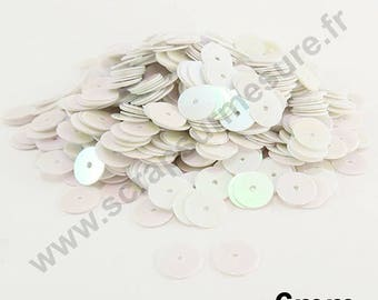 Flat sequin - white mother of Pearl - 6mm - x 400pcs sequin